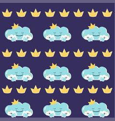 Funny mother cloud with babies seamless vector