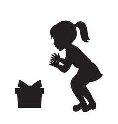 Girl and the gift box silhouette vector image vector image