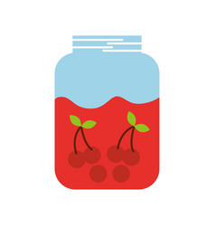 glass jar and cherries fruit beverage fresh vector image