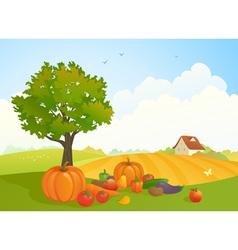 Harvest landscape vector image vector image