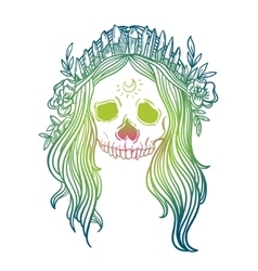Human skull with flower wreath and quartz crystal vector image vector image
