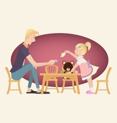 Little kid girl playing tea party with her father vector