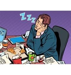 Man businessman sleeping on the job vector
