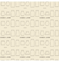 Mason jars linear icon set seamless texture vector image