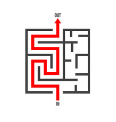Maze logo isolated labyrinth game puzzle vector