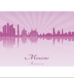 Moscow skyline in purple radiant orchid vector image