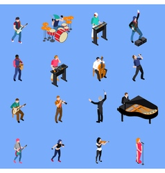 Musicians people isometric icons set vector