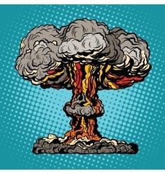 Nuclear explosion radioactive mushroom pop art vector