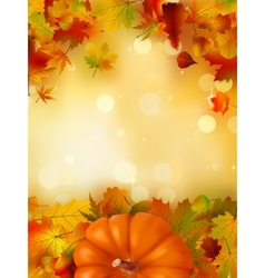 Orange pumpkin on elegant gold bokeh eps 8 vector