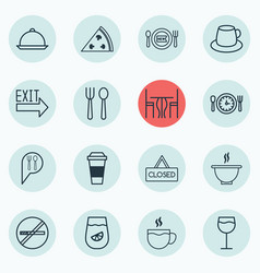 Set of 16 eating icons includes pepperoni fresh vector