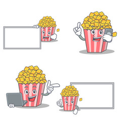 Set of popcorn character with board phone laptop vector