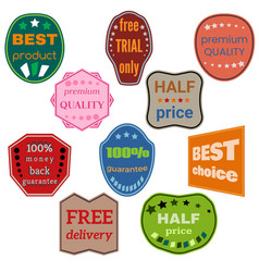 set of ten badges with ribbons vector image vector image