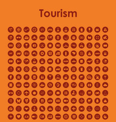 set of tourism simple icons vector image