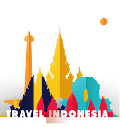 Travel indonesia paper cut world monuments vector