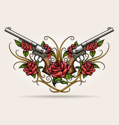 Two guns and rose flowers drawn in tattoo styl vector