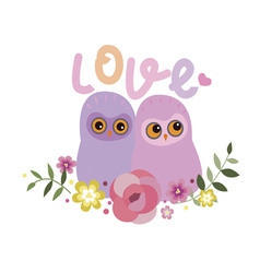 Two owls in love vector image vector image