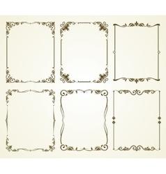 vintage calligraphic frames set vector image