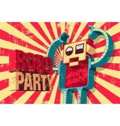 Vintage grunge poster for Roboparty vector image