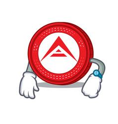 Waiting ark coin mascot cartoon vector