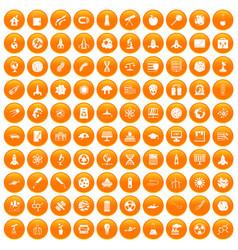 100 space icons set orange vector