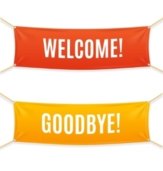 Welcome and goodbye banner vector