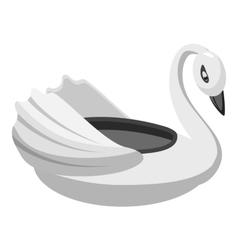 Bumper boat swan icon gray monochrome style vector