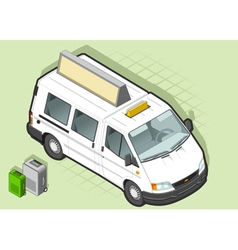 isometric white taxi van with some bags vector image