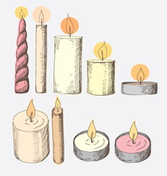 Collection of candles isolated on a white vector