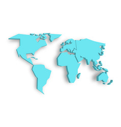 blue 3d map of world with dropped shadow on vector image