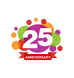 25th anniversary colored logo design happy vector