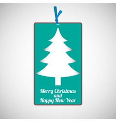 Paper cardboard christmas card vector