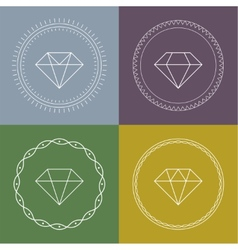 Set gemstones round banner vector
