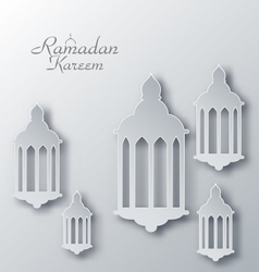 Paper arabic lamps with shadows for ramadan kareem vector