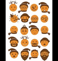 Icons set 20 smiles winter orange vector