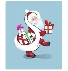 Santa claus carrying sack full of gifts vector