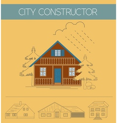 Building exteriors graphic template outline and vector