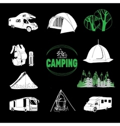 Camp icons and logo graphics stamps prints vector