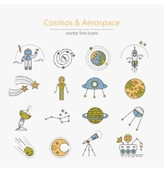 Set of cosmos and aerospace icons vector