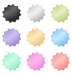 Multicolored glossy stickers in the shape of a vector