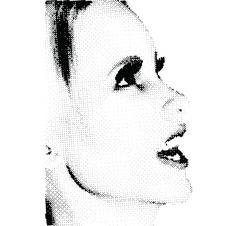 Halftone female face vector