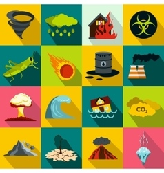 Natural disaster icons set flat style vector