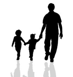 family walking silhouette two children vector image