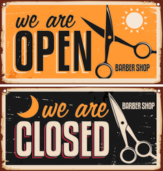 Barber shop signs open closed vector
