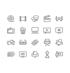Line cinema icons vector