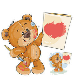 a teddy bear holding in the vector image vector image