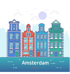 amsterdam line art european old town vector image vector image