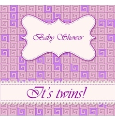 Baby shower greek background twins vector image vector image