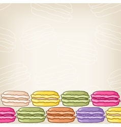 Background with colourful macaroon border vector image vector image