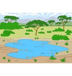 Beautiful landscape savannah vector