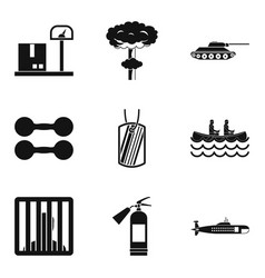 bellicose icons set simple style vector image